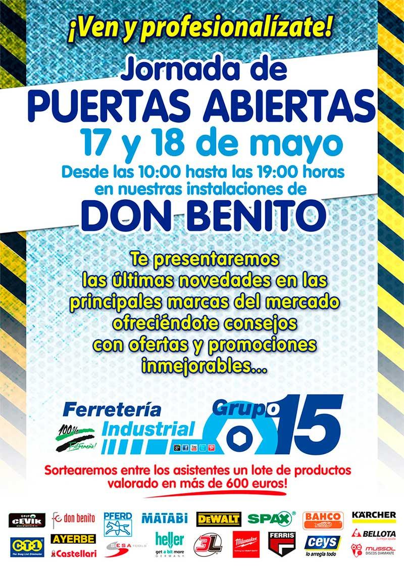17 y 18 MAYO JORNADAS PUERTAS ABIERTAS GRUPO 15 DON BENITO