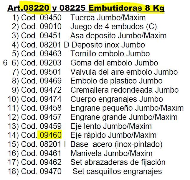 EJE RAPIDO EMBUTIDORA GARHE 08220 REF 09460