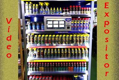 Expositor de lubricantes, limpiadores y mantenimiento