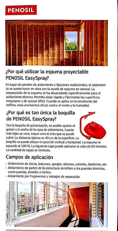 uso espuma proyectable PENOSIL EasySpray